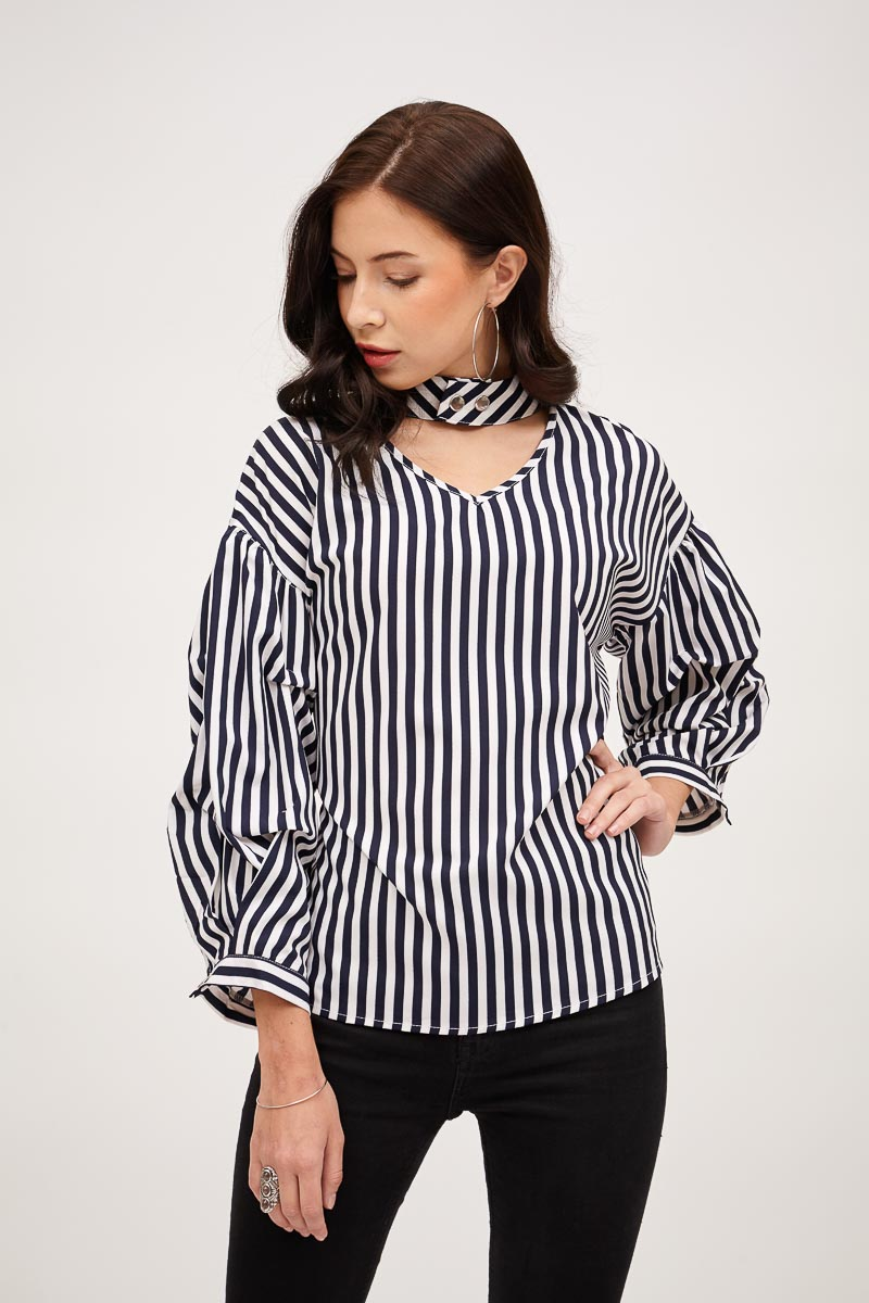 CHOKER NECK STRIPE TOP WITH GATHERED SLEEVES