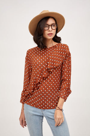 Mantra Pakistan POLKA DOT TOP WITH RUFFLES | TOPS