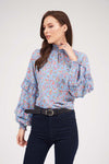 FLORAL TOP WITH SMOCK NECK AND RUFFLED SLEEVES