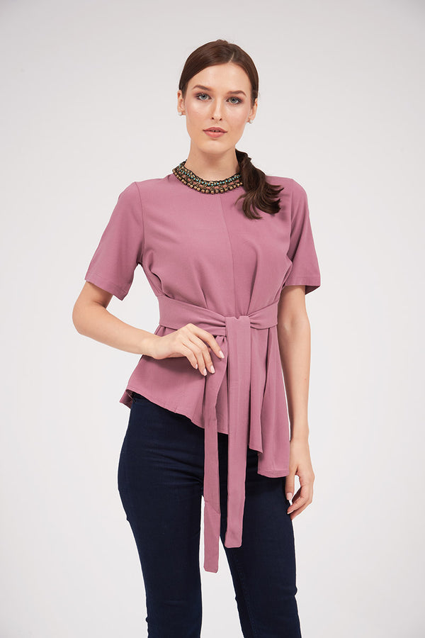 Mantra Pakistan ASYMMETRICAL TOP WITH SASH TIE | TOPS