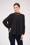 SOLID COLOR GATHERED YOKE TOP