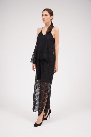 Mantra Pakistan NOODLE STRAP LACE JUMPSUIT | DRESS