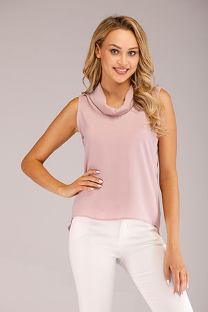 Mantra Pakistan PINK COWL NECK SLEEVELESS TOP | TOPS