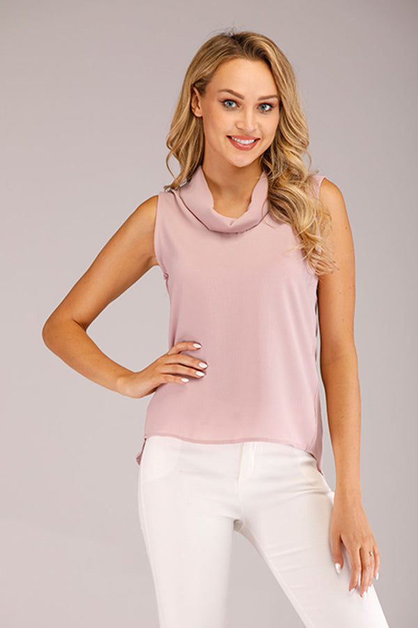 PINK COWL NECK SLEEVELESS TOP