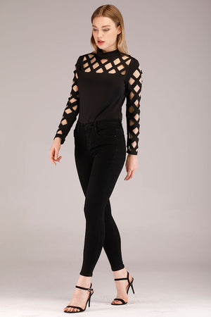 CUT OUT YOKE AND SLEEVES BLACK TOP - Mantra Pakistan