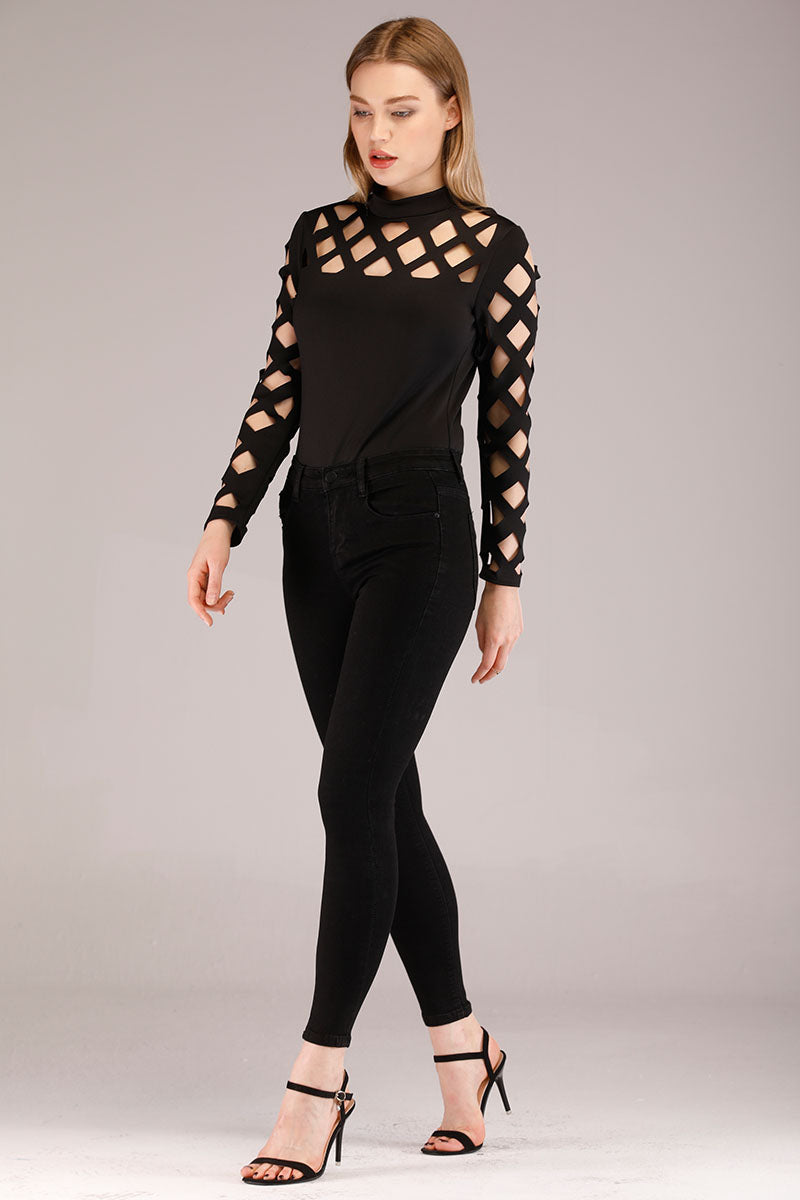 Mantra Pakistan CUT OUT YOKE AND SLEEVES BLACK TOP | TOPS