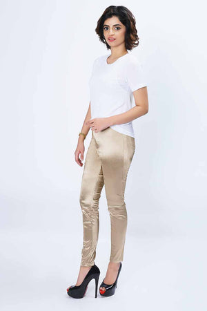 Mantra Pakistan SHINY GOLD JEGGINGS | BOTTOMS