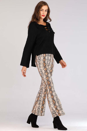 Mantra Pakistan SNAKE PRINTED FLARED PANTS | BOTTOMS