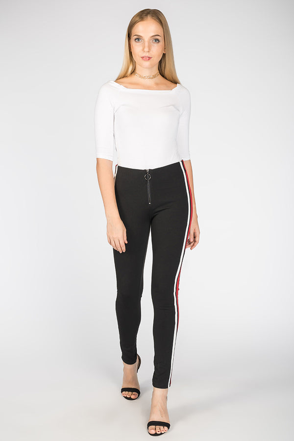 FITTED STRIPED TRACK PANTS - Mantra Pakistan
