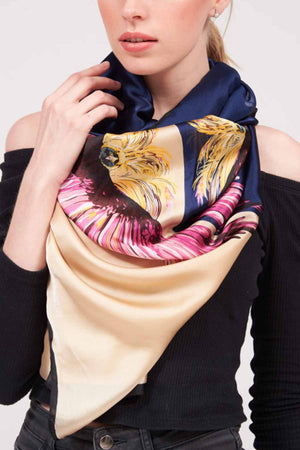 Mantra Pakistan PRINTED SATIN SCARF | ACCESSORIES