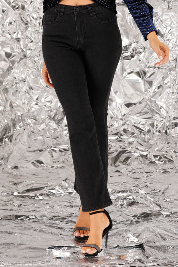 Mantra Pakistan Black Flare Jeans | BOTTOMS