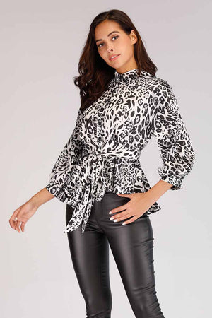 Mantra Pakistan BLACK CHEETAH PRINTED BUTTON DOWN SHIRT | TOPS