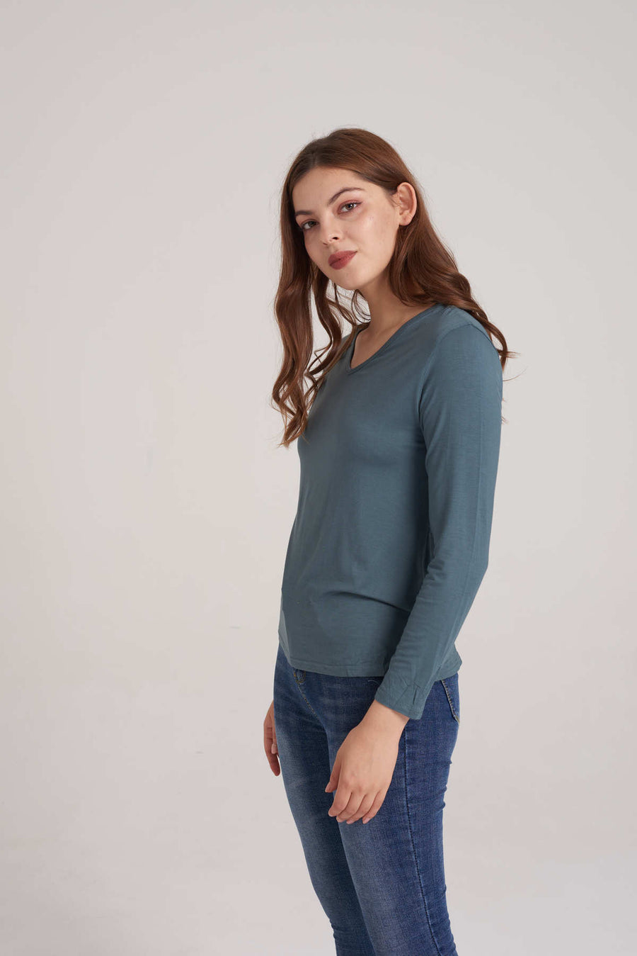Mantra Pakistan V-Neck Long Sleeve Top | TOPS