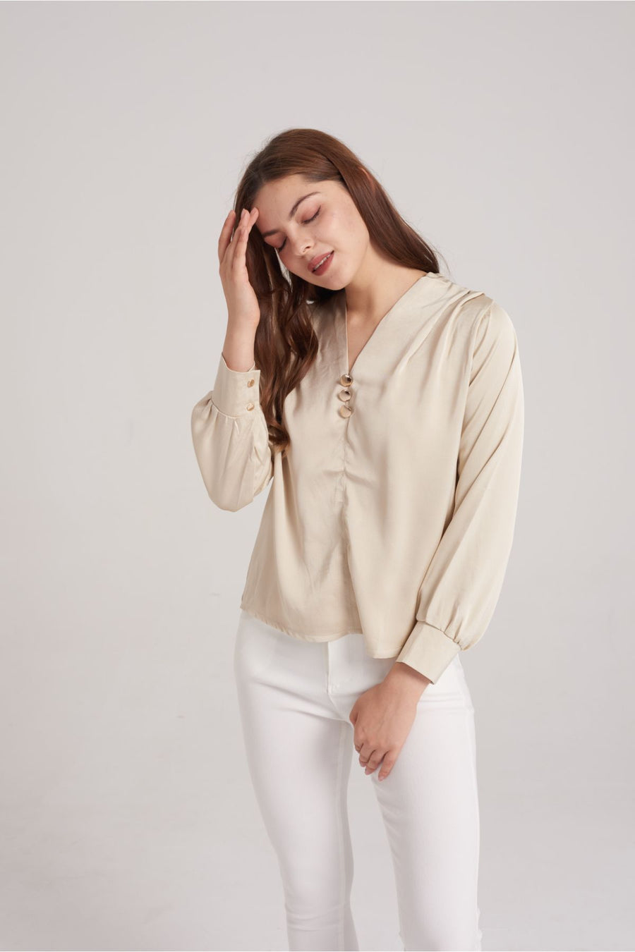 Mantra Pakistan Satin V-Neck Top with 3 Gold Button | TOPS