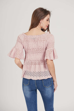 Mantra Pakistan Off shoulder smocked top | TOPS