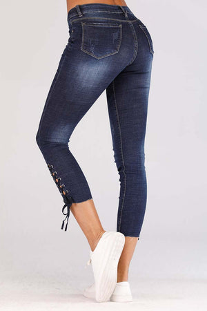 JEANS WITH LACE TIE UP HEM - Mantra Pakistan
