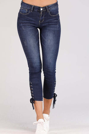 Mantra Pakistan JEANS WITH LACE TIE UP HEM | BOTTOMS