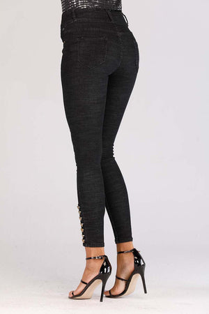 Mantra Pakistan JEANS WITH BUTTONED HEM | BOTTOMS