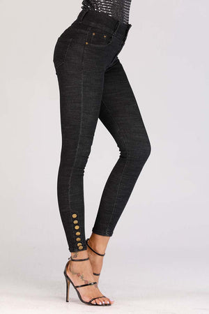 JEANS WITH BUTTONED HEM - Mantra Pakistan