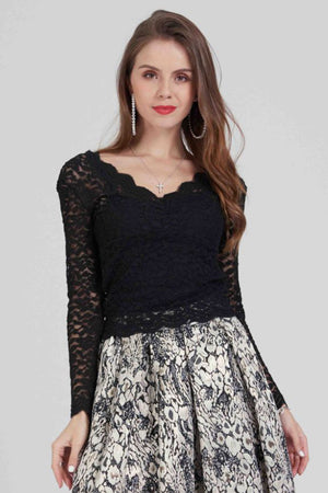 Mantra Pakistan Lace top long sleeve with scalloped neck | TOPS
