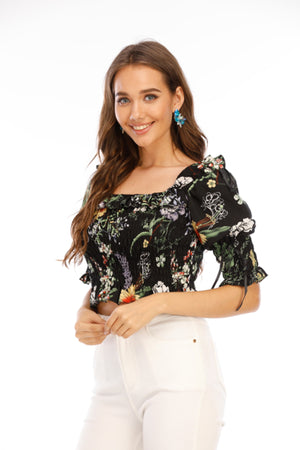 Floral Print boat neck Top