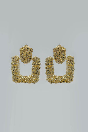 Mantra Pakistan Textured Gold Studs With Drop Down Square | ACCESSORIES