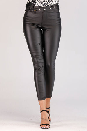 Mantra Pakistan LEATHER JEGGINGS WITH SILVER BUTTONED WAIST BAND | BOTTOMS