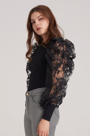 Mantra Pakistan Black Top with Puffy Sleeves | TOPS