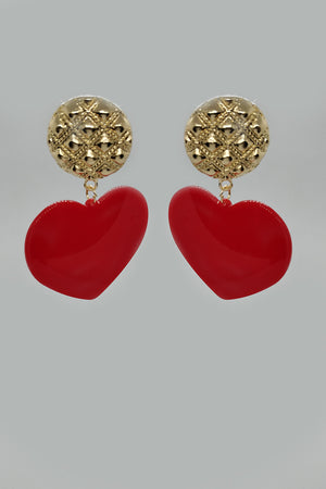 Mantra Pakistan Red Acrylic Heart Earring | ACCESSORIES