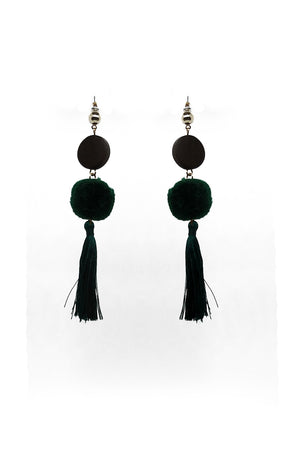 Mantra Pakistan WOOD PENDANT AND TASSELED BALL EARRINGS | ACCESSORIES