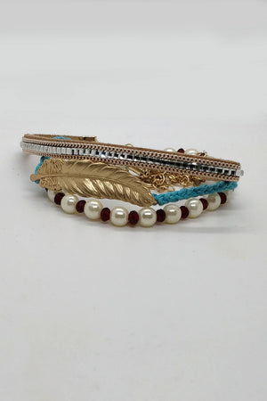 GOLDEN FEATHER MULTILAYER BRACELET - Mantra Pakistan