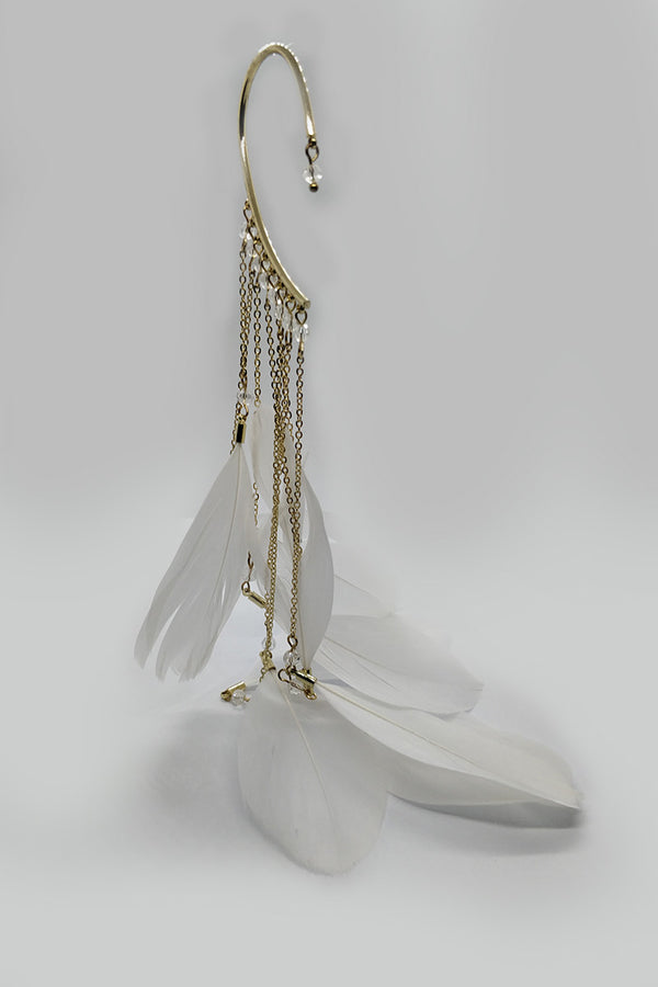 Mantra Pakistan Earring Loop With Dangling Feathers | ACCESSORIES
