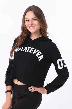 Mantra Pakistan PRINTED 'WHATEVER' CROPPED HOODIE | TOPS