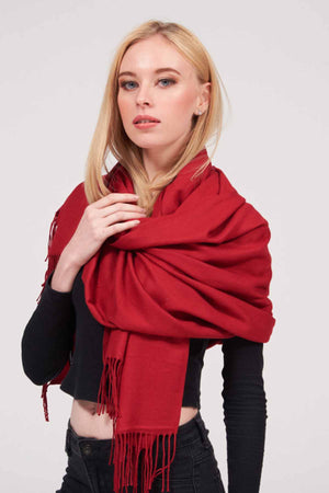 Mantra Pakistan SOLID COLORED SCARF WITH TASSELS | ACCESSORIES