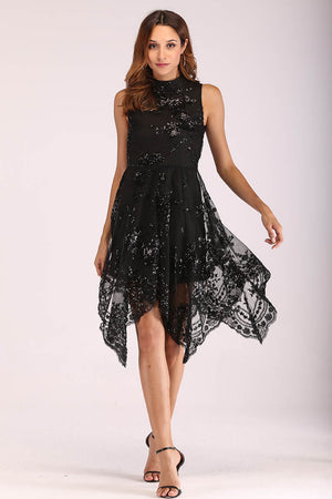 BLACK SEQUINS DRESS - Mantra Pakistan