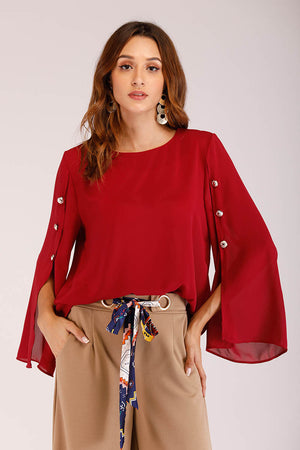 Mantra Pakistan OPEN SLEEVE SOLID TOP WITH GOLD BUTTONS | TOPS