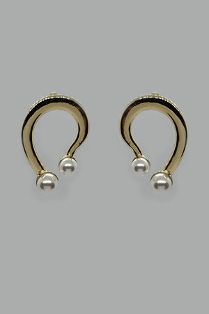Mantra Pakistan Golden Circle With Pearl Ending Earrings | ACCESSORIES