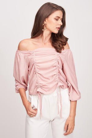 SOLID COLORED OFF SHOULDER TOP