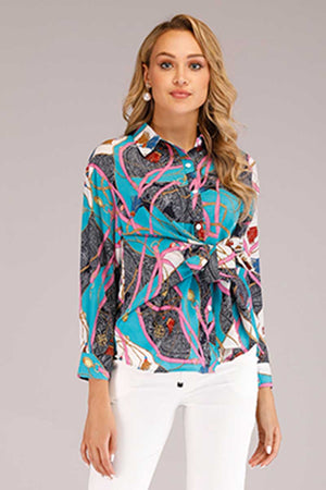 PRINTED FRONT TIE KNOT TOP