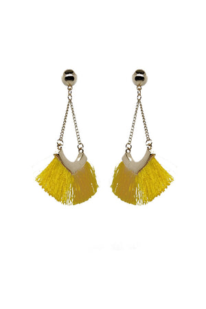 Mantra Pakistan YELLOW TASSELED DROP EARRINGS | ACCESSORIES
