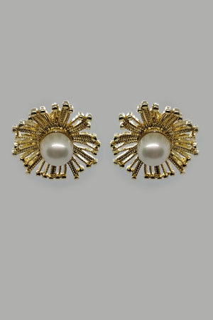 Mantra Pakistan Golden Flower With Pearl Studs | ACCESSORIES
