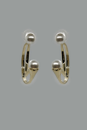 Mantra Pakistan Pearl Studs With Drop Down Golden Half Hoops | ACCESSORIES