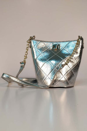 SHINY SILVER POUCH BAG