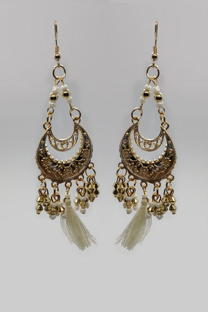Two Tier Circle Earring With Beaded Strings And White Tassel