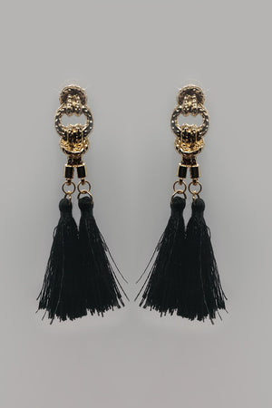 Golden Chain Studs With Black Tassel - Mantra Pakistan