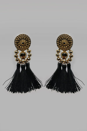 Mantra Pakistan Circle Medallion Studs With Drop Down Golden Beads And Dangling Tassel | ACCESSORIES