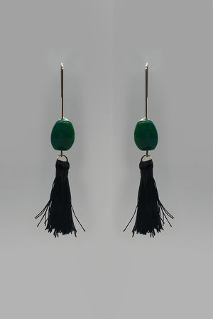 Dangly Earring With Green Stone And Black Tassel - Mantra Pakistan