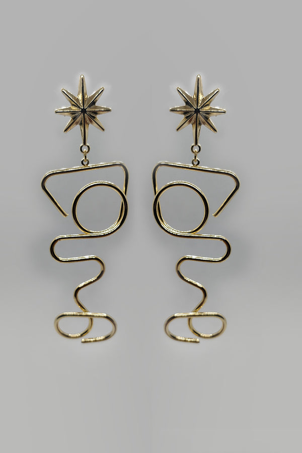 Star Studs With Long Drop Down Metal Shapes