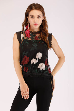 Mantra Pakistan MESH EMBROIDERED TOP | TOPS