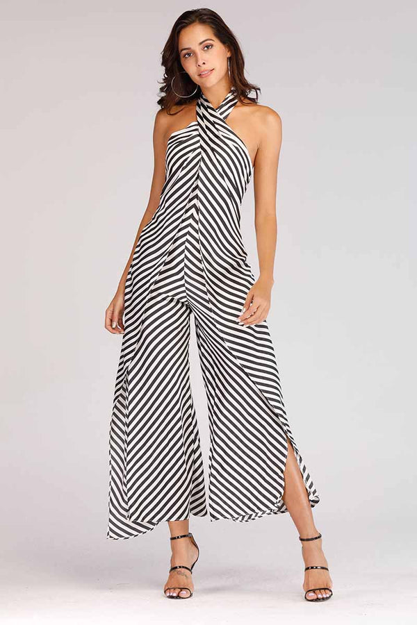 HALTER NECK STRIPED JUMPSUIT - Mantra Pakistan